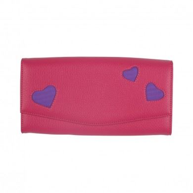 Bombay Duck - L'Amour - Fuchsia Pink & Purple Travel Wallet - Printed Faux Leather