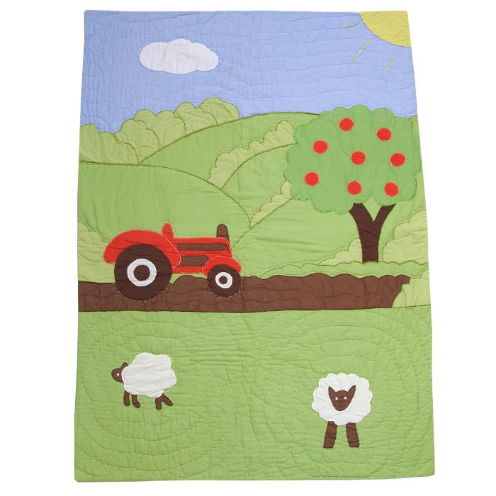 100% Cotton Pocket Stitched Cot Quilt/Wrap - Farmyard - Powell Craft