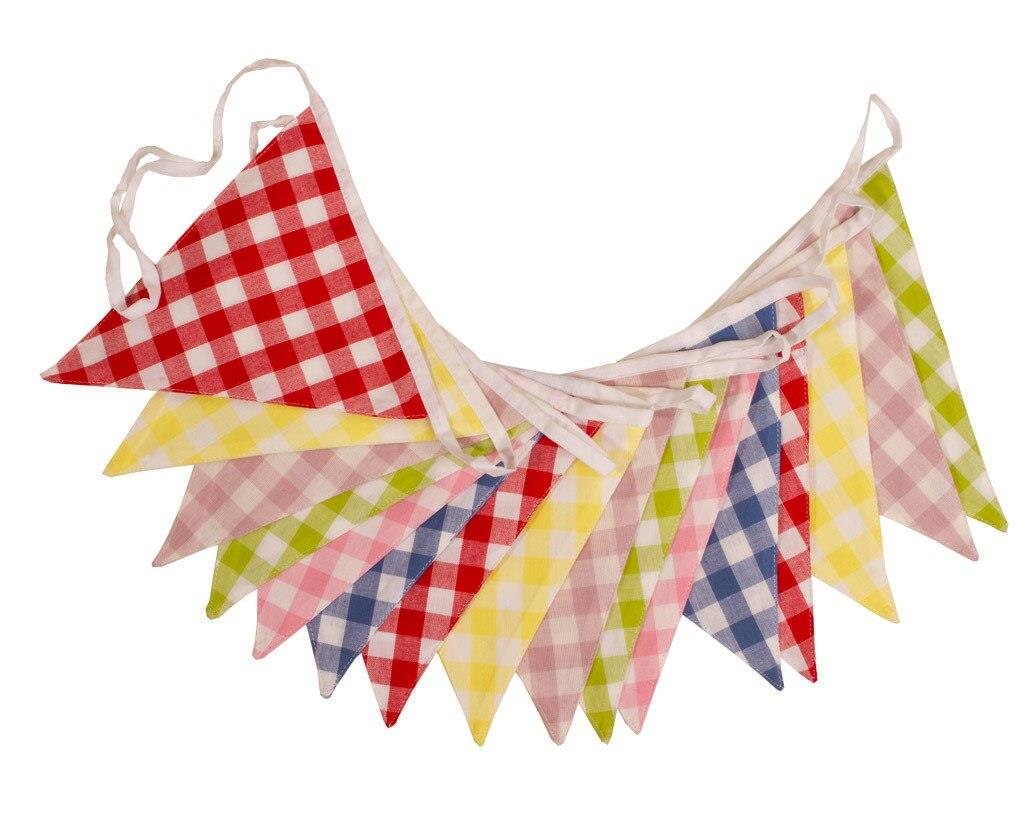 100% Cotton Bunting - Farmhouse Kitchen - Multi-Coloured Gingham - 10m/33 Double Sided Flags