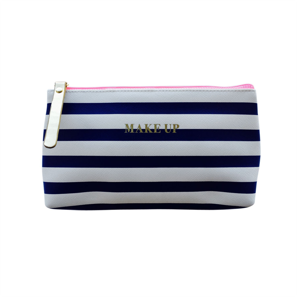 Bombay Duck - All Aboard! - Make Up Stripey Faux Leather Bag - Navy & White