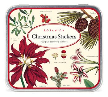 Cavallini - Tin of Decorative Christmas Stickers/Labels - Christmas Botanica
