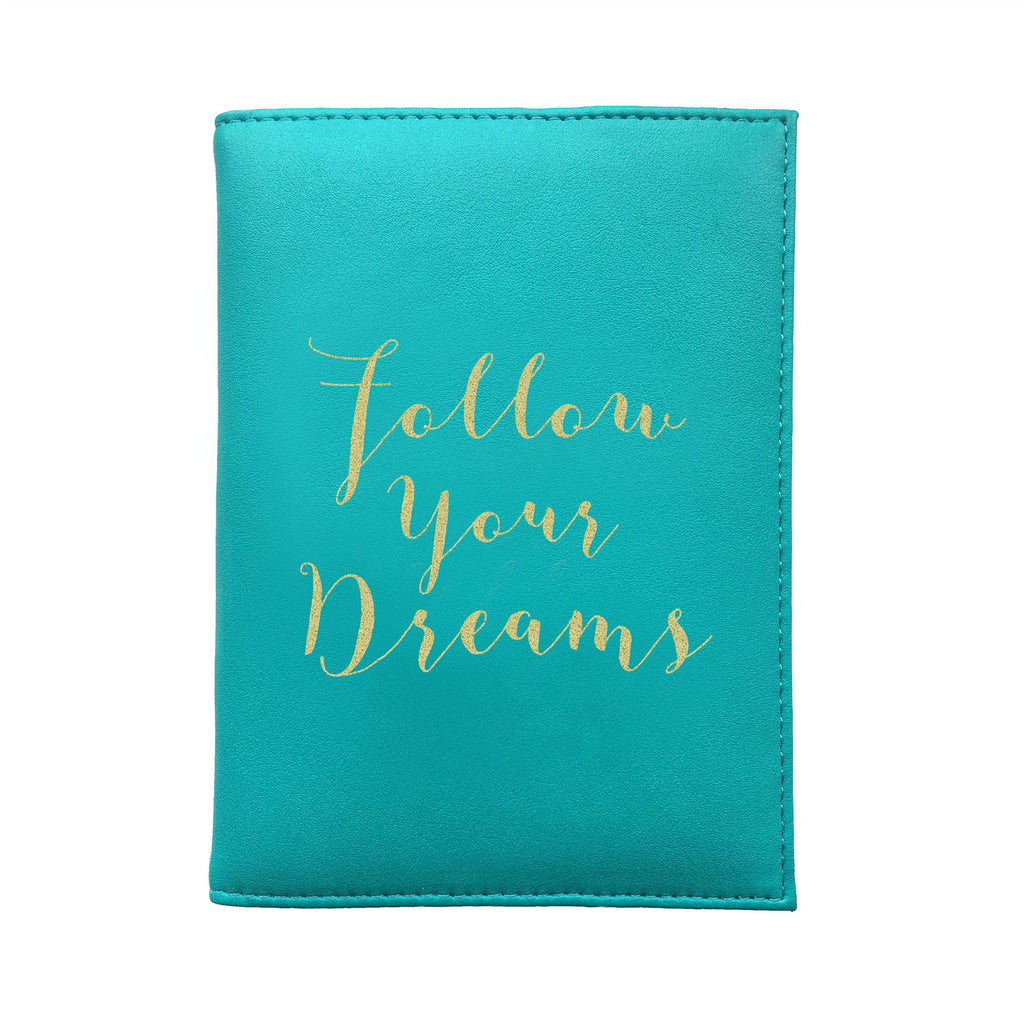 Bombay Duck - Follow Your Dreams - Aqua/Gold Passport Holder/Cover- Printed Faux Leather