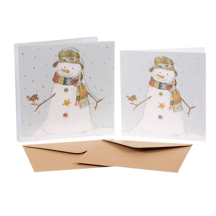 Snowman - Christmas Card Box Set - 8 Luxury Cards & Envelopes - Sally Swannell