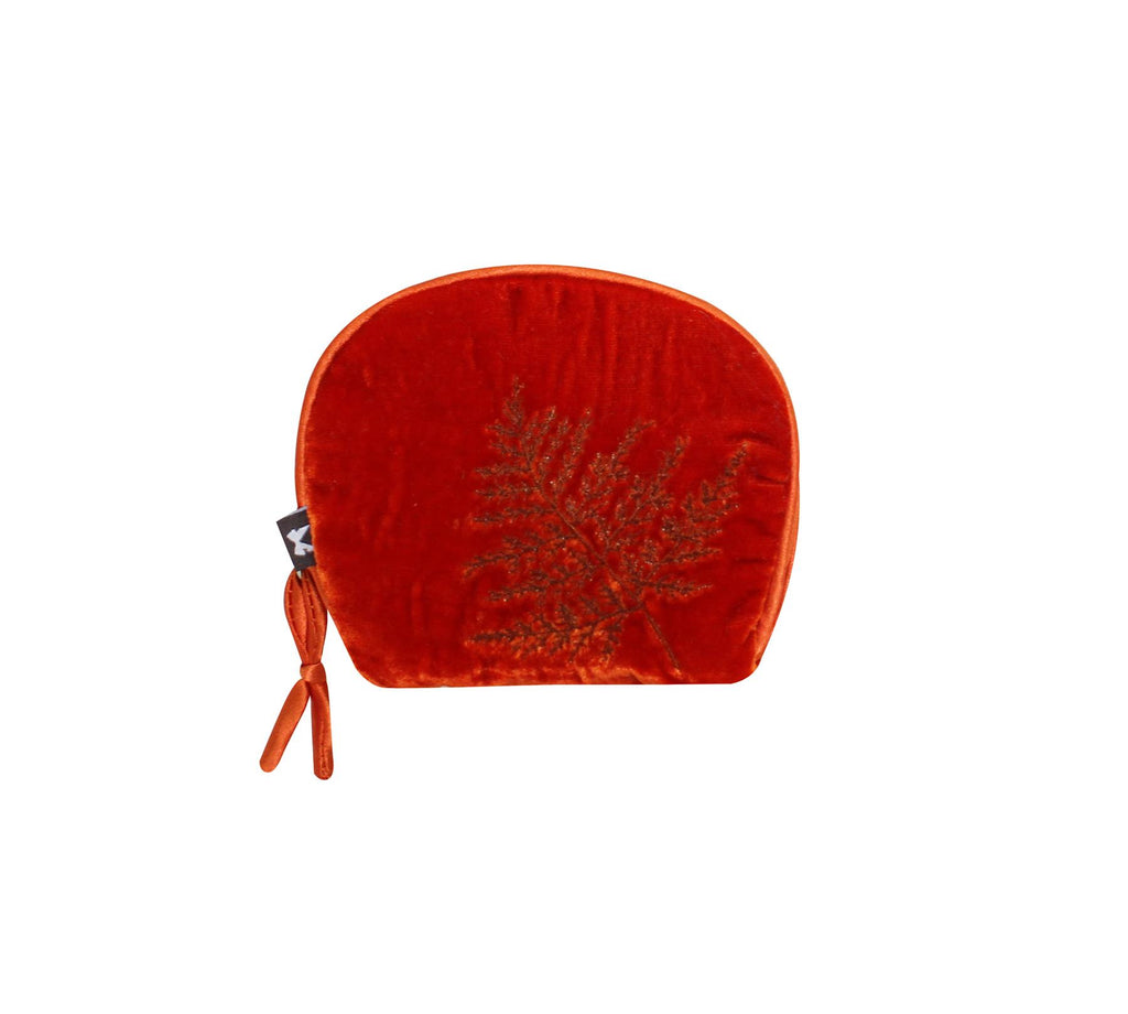 Earth Squared - Amy Coin Purse - Velvet - Rust/Orange - 10.5x10cms