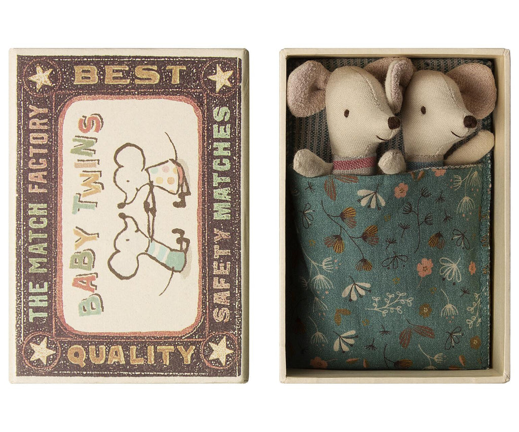 Maileg - Newborn Matchbox Mice - Twins - Girl & Boy - Boxed With Sleeping Bag Bedding