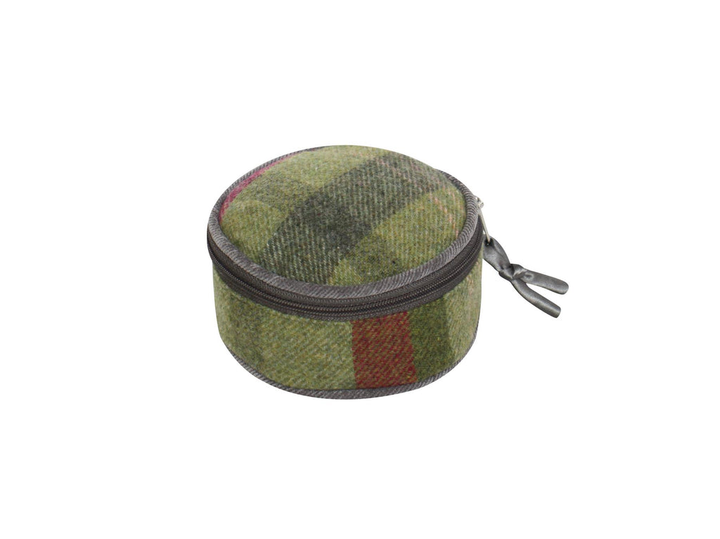 Earth Squared - Round Jewellery Pouch - Tweed Wool - Stone Moss - 10x10x5cms