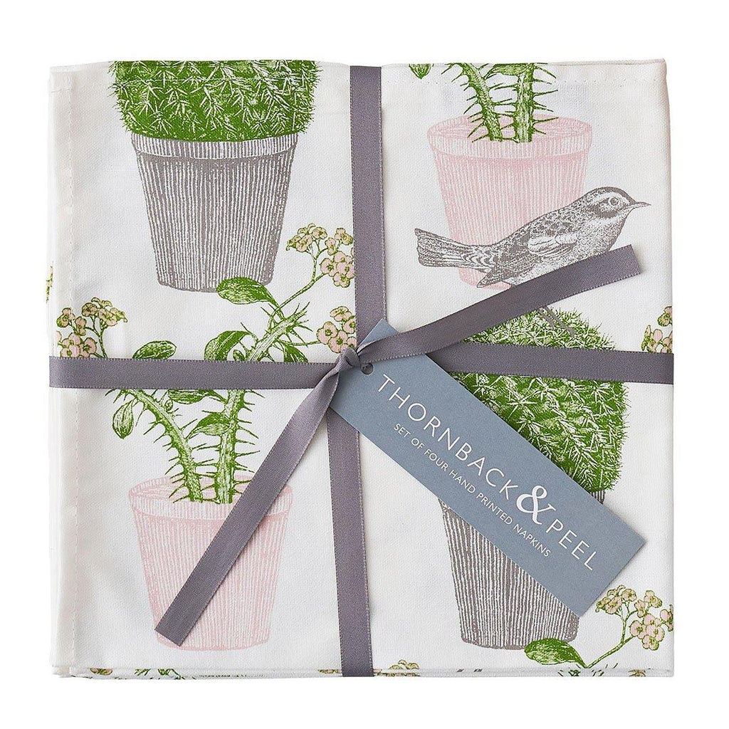 Thornback & Peel - 100% Cotton Napkins - Set of 4 - 45 x 45cms - Cactus & Bird