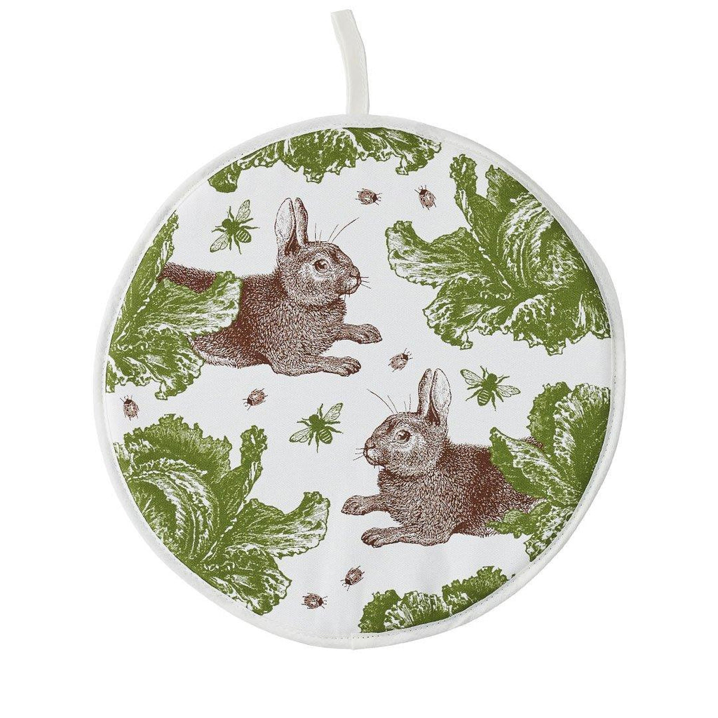 Thornback & Peel - 100% Cotton Hob/Range Cover - 36 x 36cms - Rabbit & Cabbage