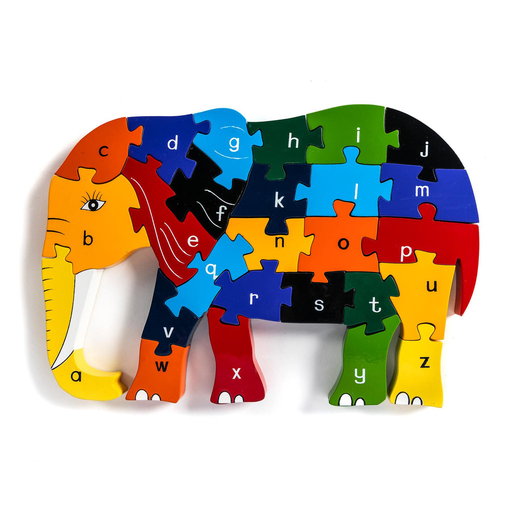 Alphabet Jigsaws - Elephant a-z Puzzle - Chunky, Bright & Educational - 33x19cms