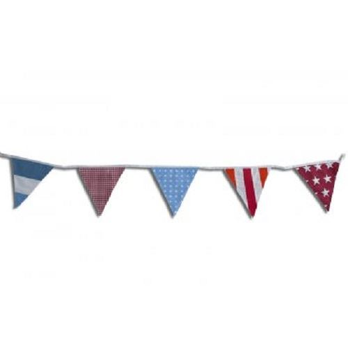100% Cotton Bunting - Festival - Stars/Stripes/Polka/Gingham - 10m/33 Double Sided Flags