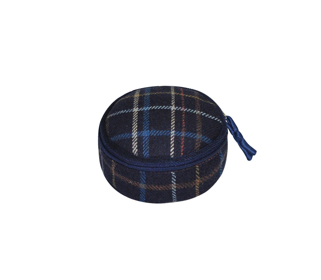 Earth Squared - Round Jewellery Pouch - Tweed Wool - Navy - 10x5cms