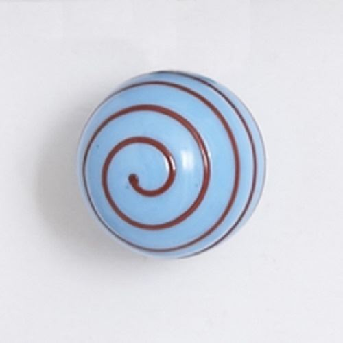 Bombay Duck - Opaque Glass Cupboard/Drawer Door Knob - Turquoise with Red Spiral