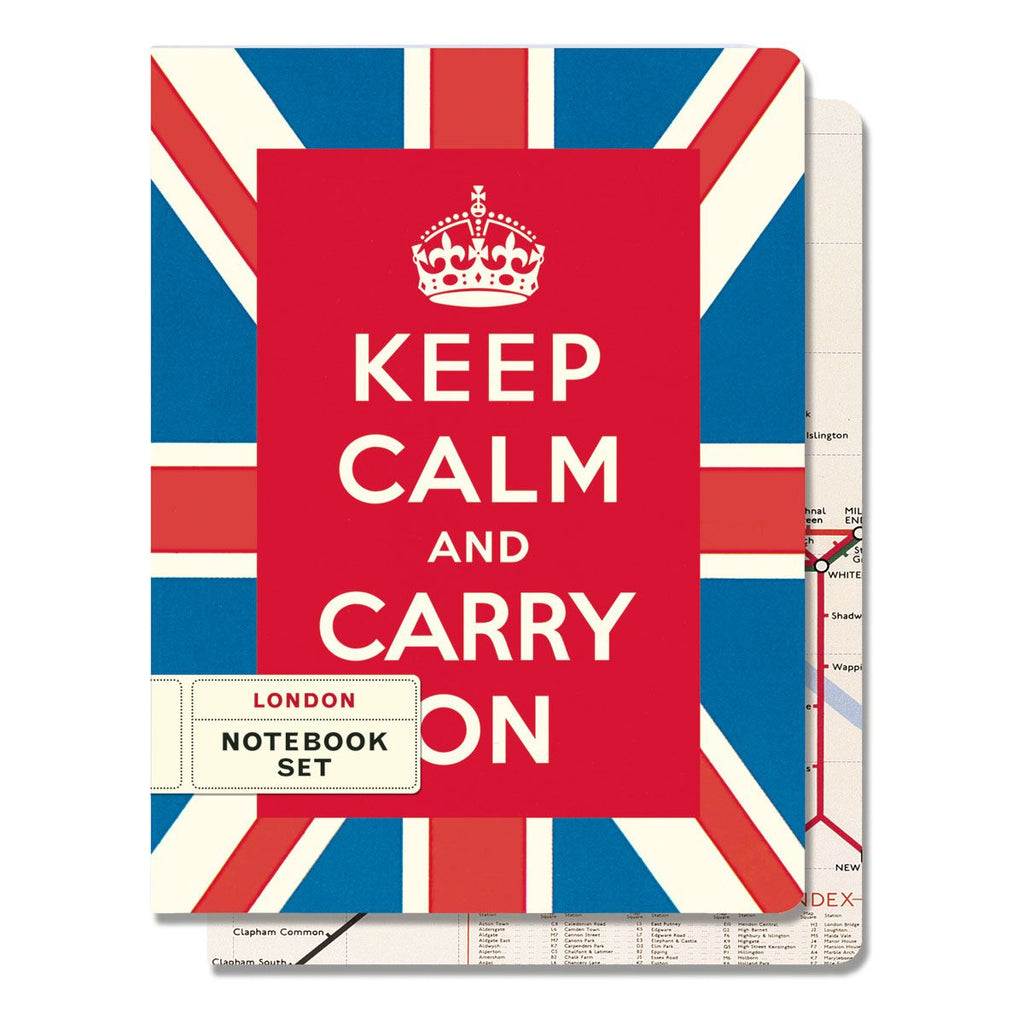 Cavallini - Set of 2 Notebooks 5.5x7.25ins - London Underground & Keep Calm - Lined & Graph Interiors - 96 Pages Per Book