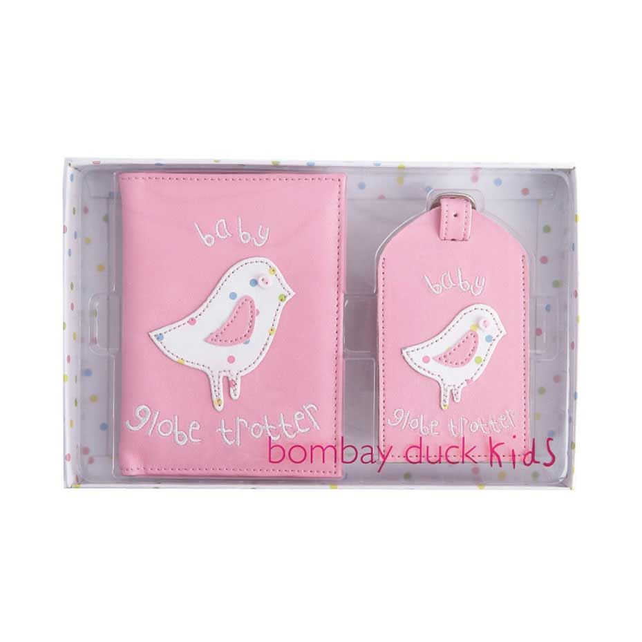 Bombay Duck - Baby Globe Trotter - Pink Passport Holder/Cover & Luggage Tag Gift Set - Printed Faux Leather