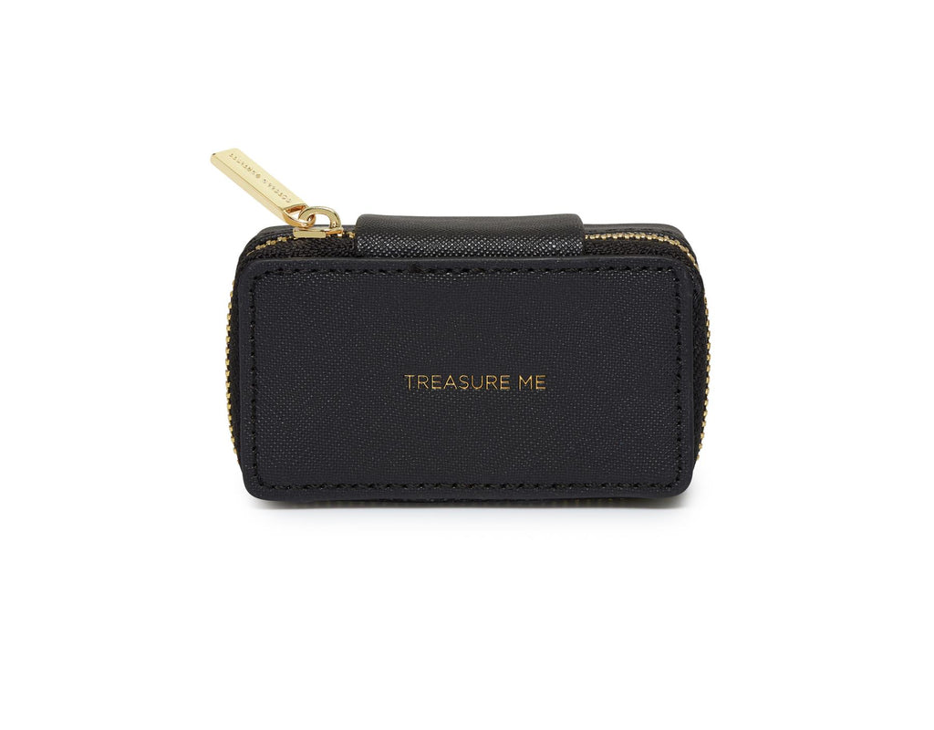 Tiny Jewellery Box/Case - Black/Treasure Me - 3.5x8x4.3cms - Estella Bartlett