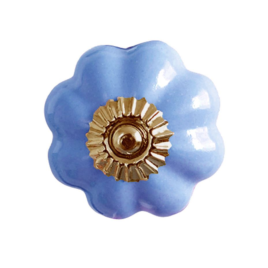 Bombay Duck - Plain Flower Ceramic Cupboard/Drawer Door Knob - Violet