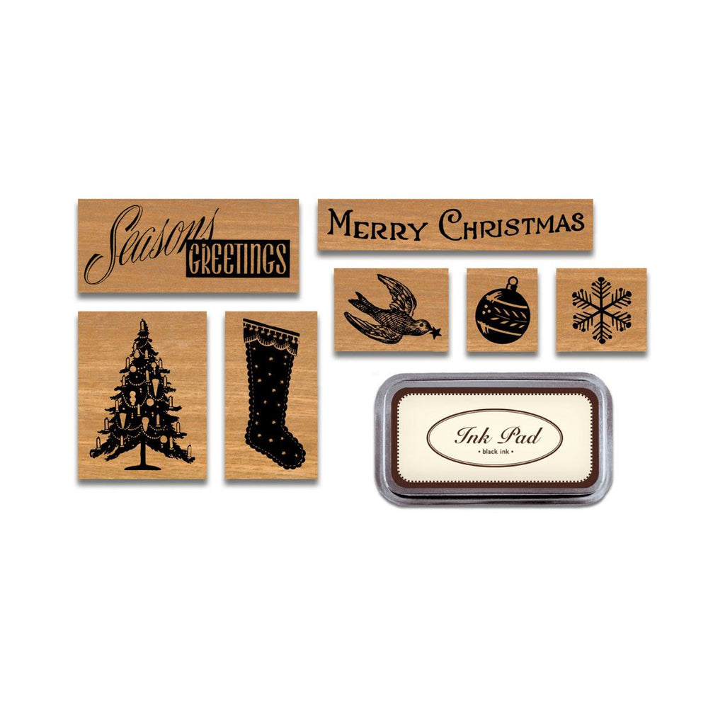 Cavallini - Tin of 7 Rubber Stamps - Christmas Holiday HOL - Black Ink Stamp Pad Included