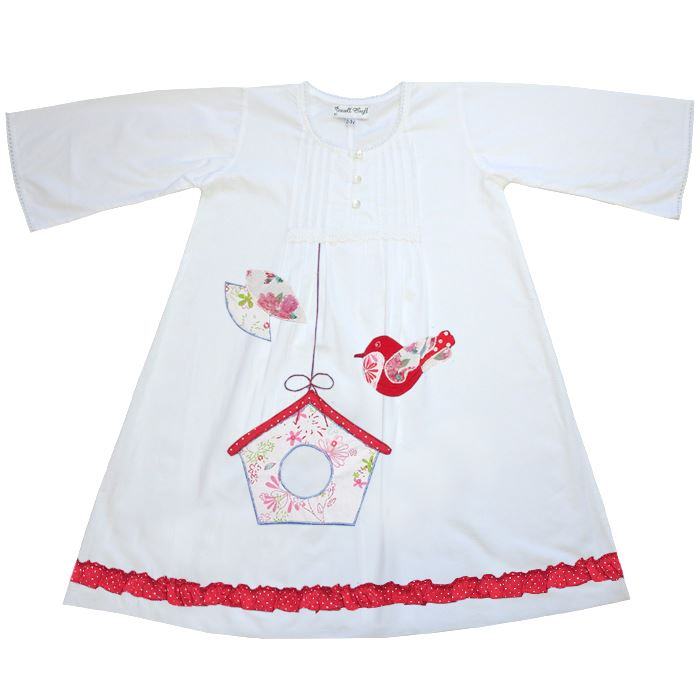 100% Cotton Longsleeve Nightdress - Bonnie - Bird Box - Powell Craft - Ages 1-7
