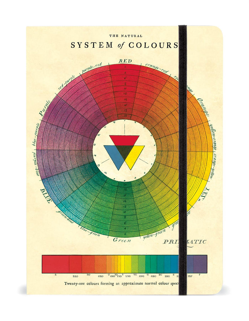 Cavallini - Large Lined Notebook 6x8ins - Colour Wheel/System of Colours - 144 Pages With Elastic Enclosure