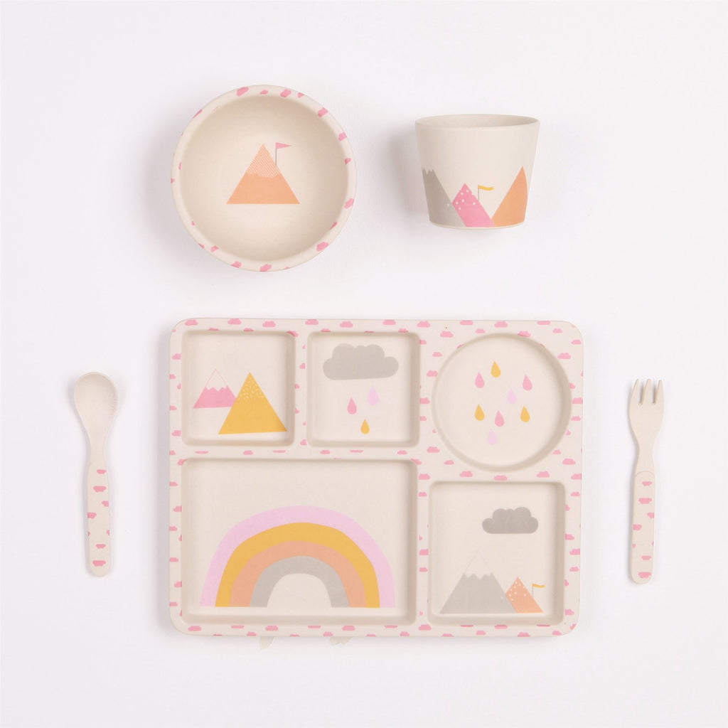 Love MAE - 5pc Bamboo Dinner Set - Sectioned Plate/Cup/Bowl/Cutlery - Rainbows