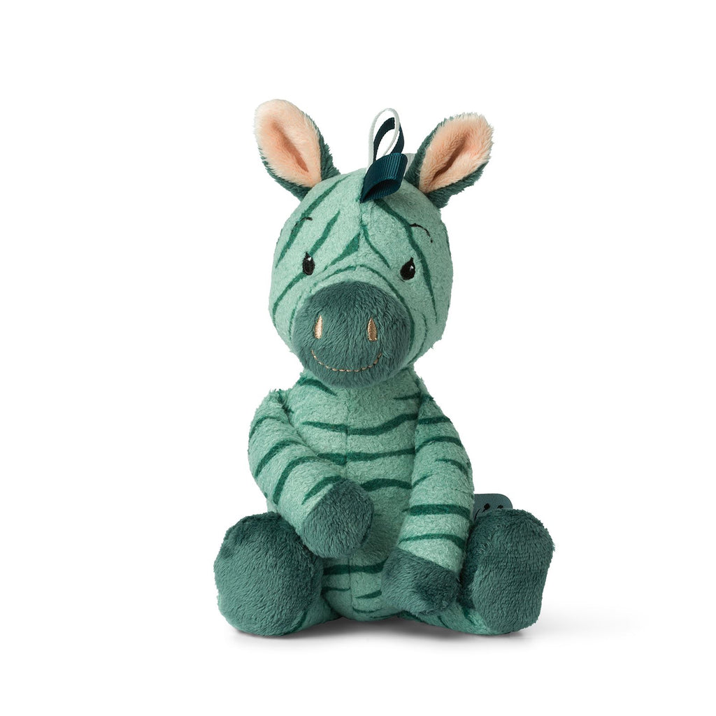 WWF Cub Club - Bon Ton Toys - Ziko The Zebra  With Bell - Green - 22cms  - Suitable From Birth