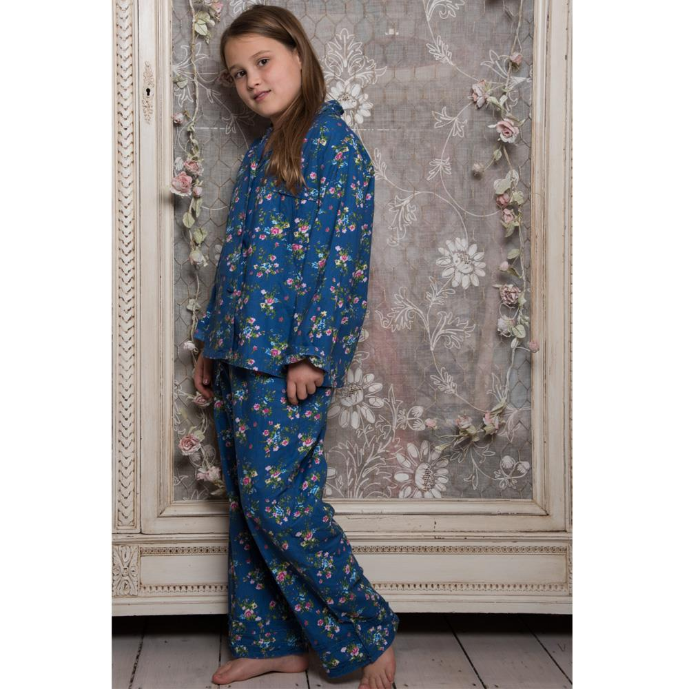 100% Cotton Longsleeve Pyjamas - Navy Blue Floral With Pink Flowers - Powell Craft - Age 6-7yrs