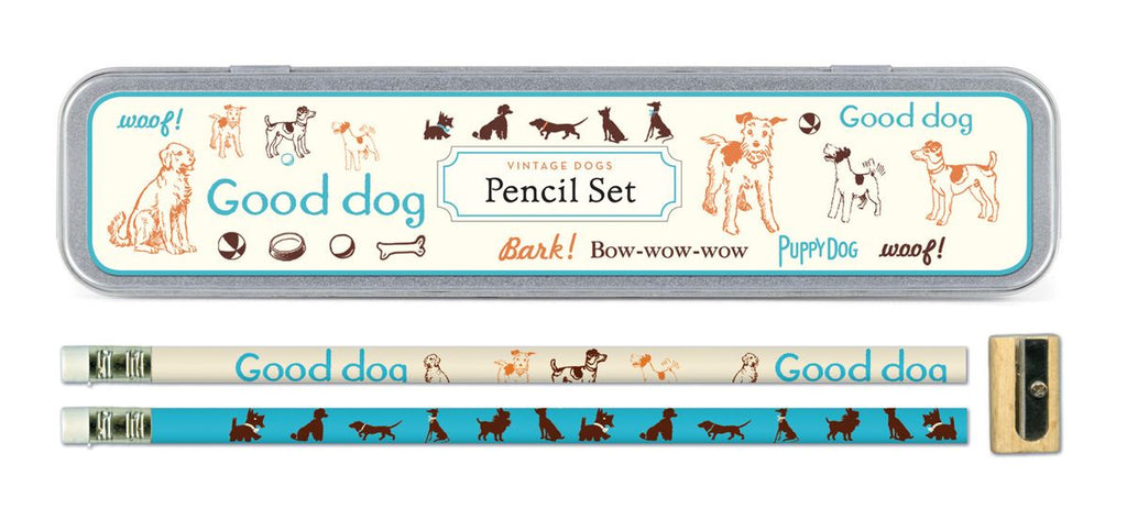Cavallini - Tin of Pencils - Vintage Dogs - 10 Pencils/2 Designs, & Sharpener