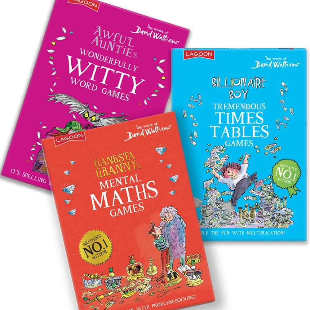 David Walliams - Educational Games - Mental Maths, Times Tables, Wonderful Words - Sold Individually or Set of 3