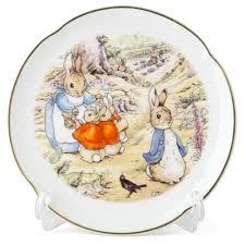 Peter Rabbit & Family - Porcelain Round Decorative Wall Plate by Reutter Porzellan - Perfect for Beatrix Potter Collectors