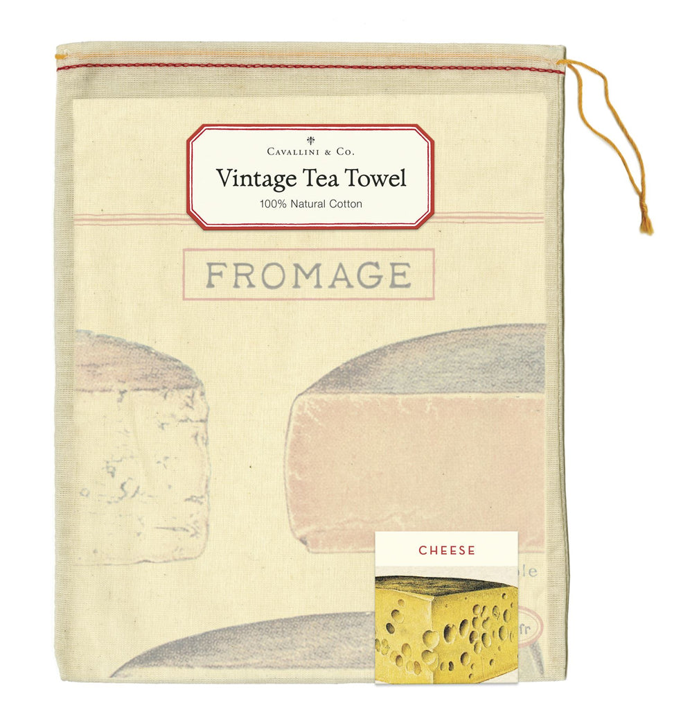 Cavallini - 100% Natural Cotton Vintage Tea Towel - 80 x 47cms - Cheese/Fromage