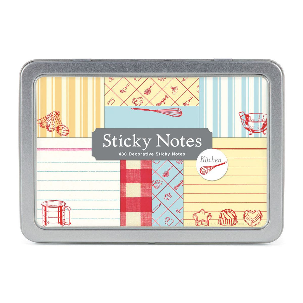 Cavallini - Tin of Sticky Notes/Memos - Kitchen - 8 Note Pads/60 sheets per pad