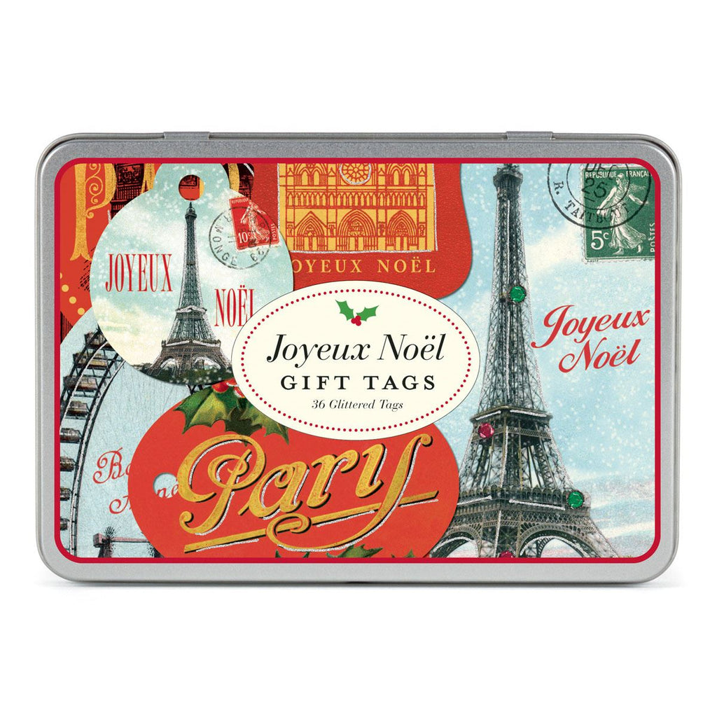 Cavallini - Tin of 36 Glittered Gift Tags - Joyeux Noel (HOLPAR)