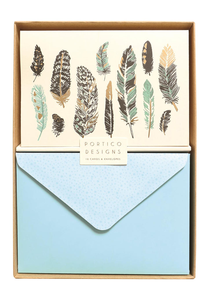 Feathers Notecard Set - 10 Blank Note Cards & Matching Envelopes