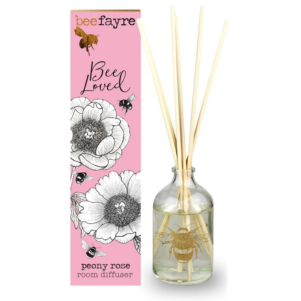 Beefayre - Bee Loved - Peony Rose - Room Diffuser 100ml - Alcohol Free/Vegan Friendly