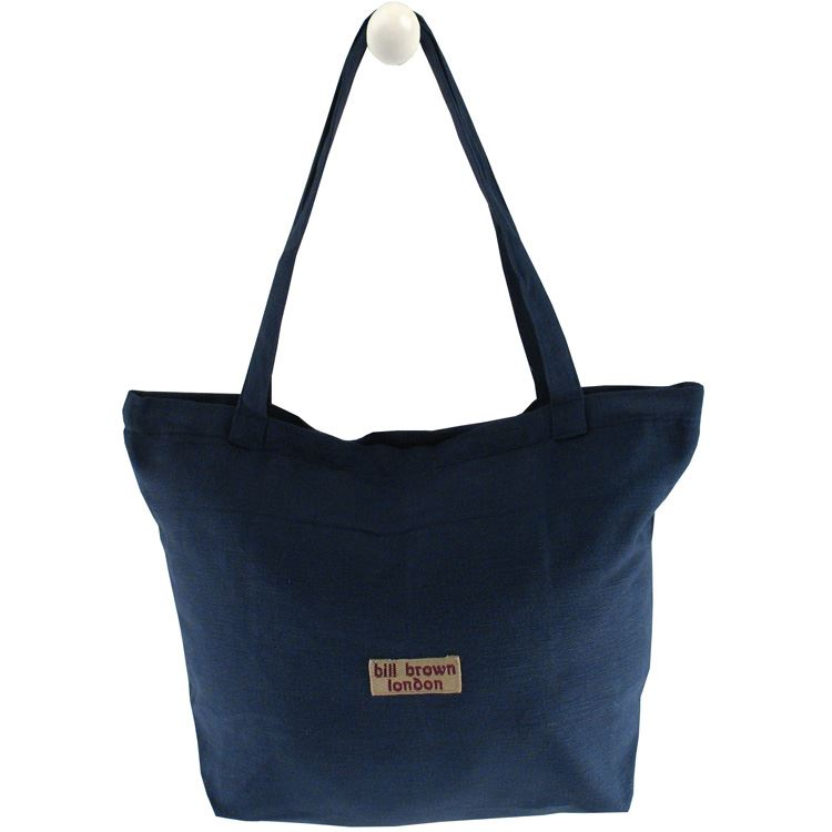 Bill Brown Bags - Lucy Handloom - Zipped Bag - Fits A4 Files - Navy 49x32x16cms