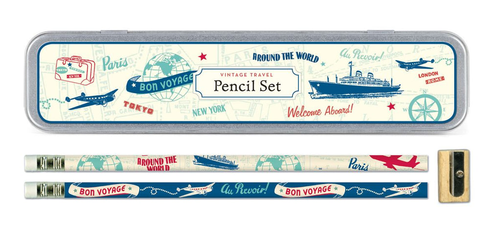 Cavallini - Tin of Pencils - Vintage Travel - 10 Pencils/2 Designs, & Sharpener