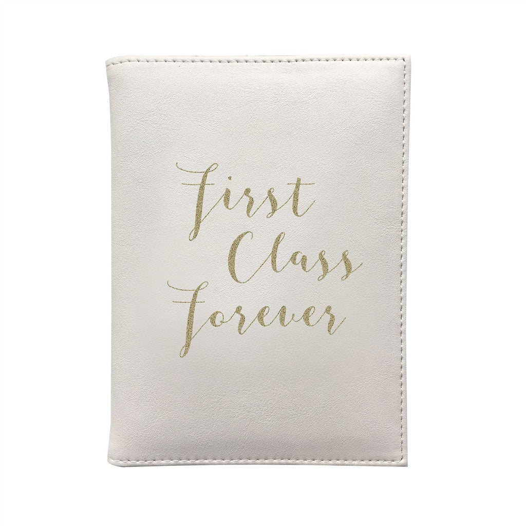 Bombay Duck - First Class Forever - Cream/Gold Passport Holder/Cover- Printed Faux Leather