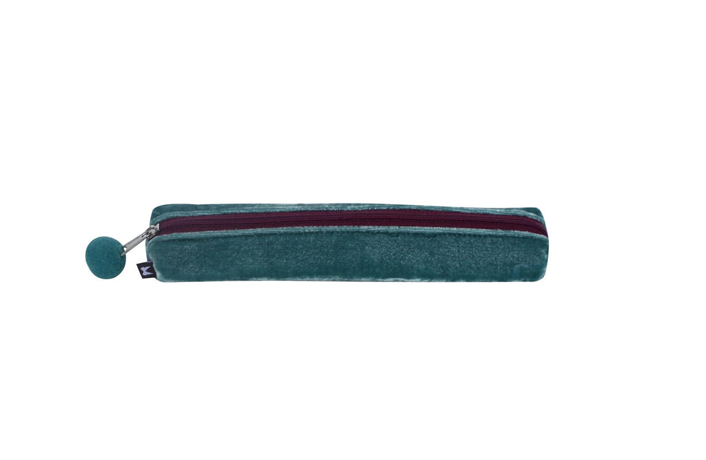 Earth Squared - Velvet Pencil/Make Up Brush Case - Green - 20x3x4cms