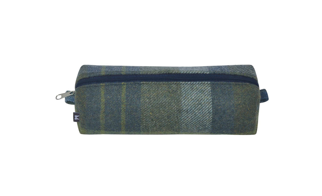 Earth Squared - Pencil/Make Up Brush Case - Tweed Wool - Coastal Blue Marina - 18x6x6cms