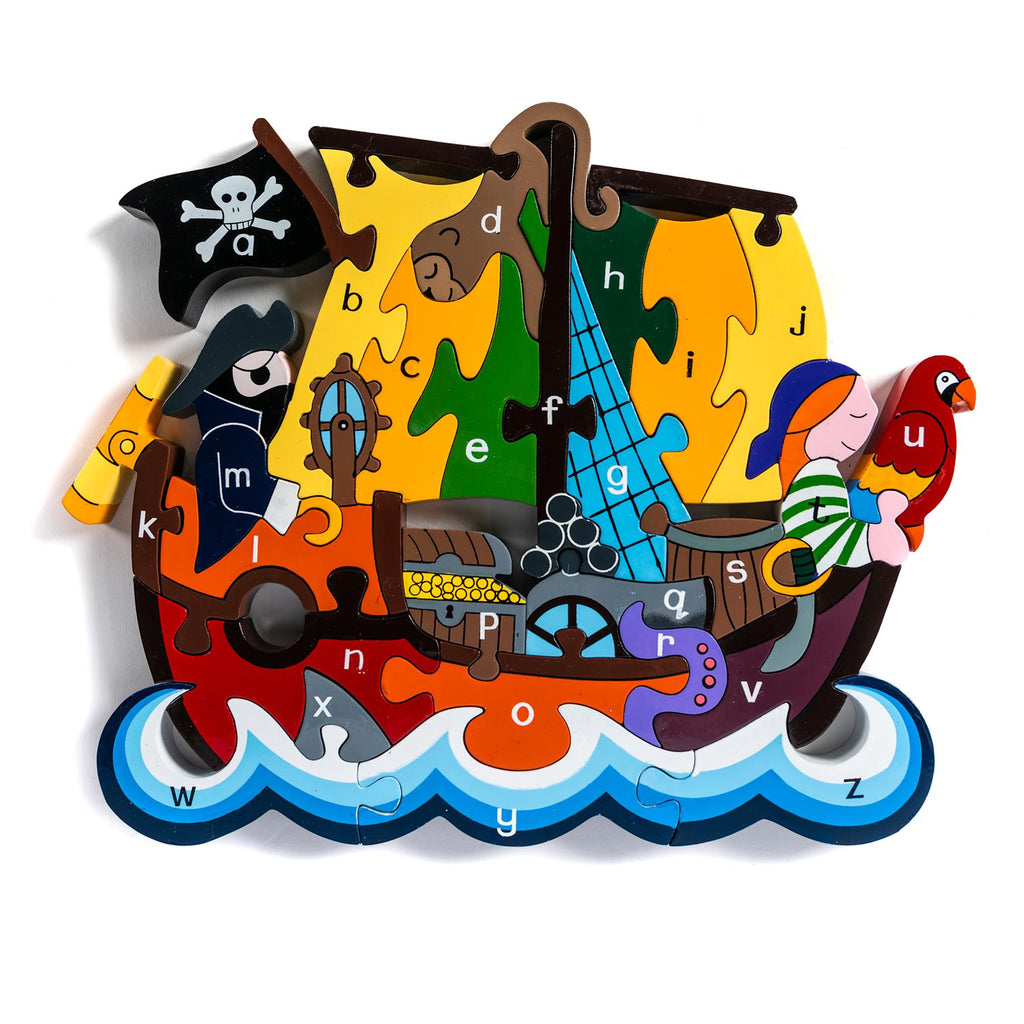 Alphabet Jigsaws - Pirate Ship a-z Puzzle - Chunky, Bright & Educational - 33x19cms