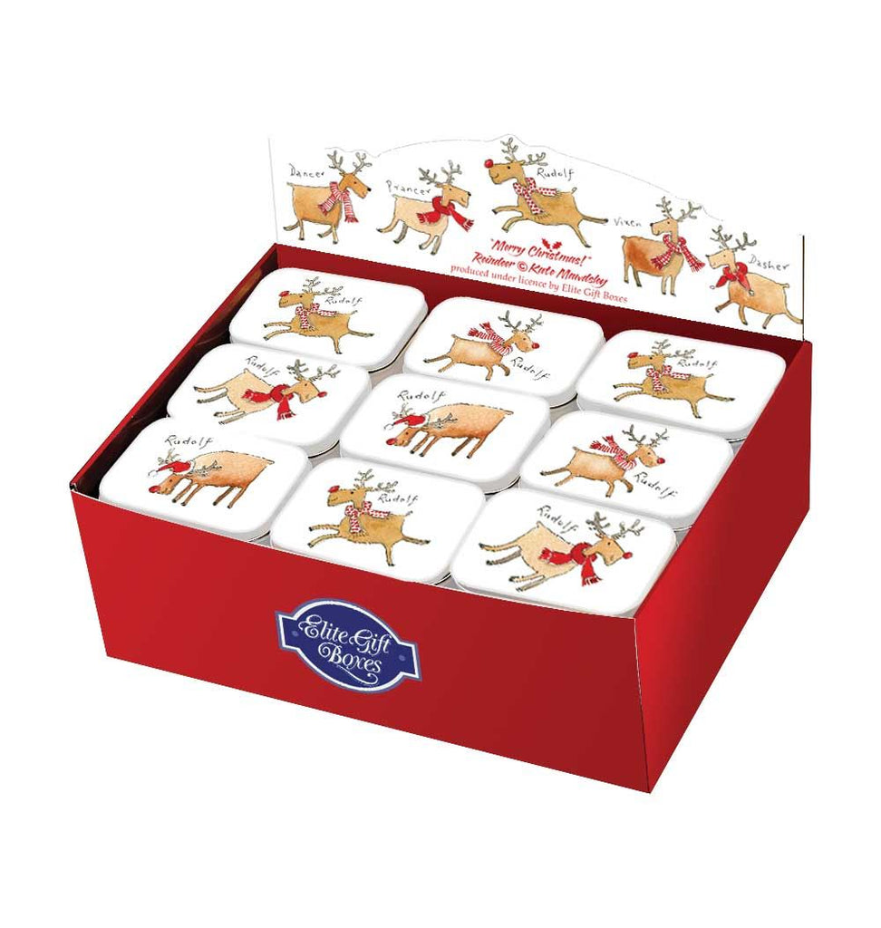 Rudolf The Reindeer - Rectangular Hinged Treat Tin - 4 Christmas Designs To Choose From - Perfect Stocking Filler