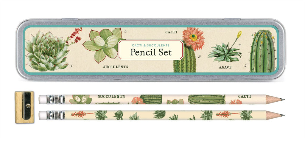 Cavallini - Tin of Pencils - Succulents/Cactus/Cacti - 10 Pencils/2 Designs, & Sharpener