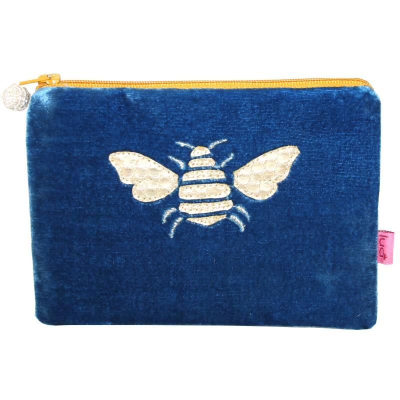 Lua - Velvet Coin Purse With Appliqued Bee 11 x 16cms - 4 Colour Options