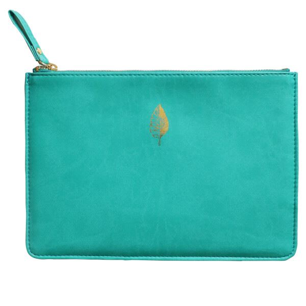 Sky & Miller - Faux Leather Soft Zipped Padded Pouch - Leaf - Green/Gold - 15x22cms