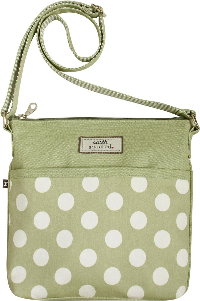 Earth Squared - Amelia - Spotty Messenger Bag - Mint Green With White Spots - 26x24x4cms