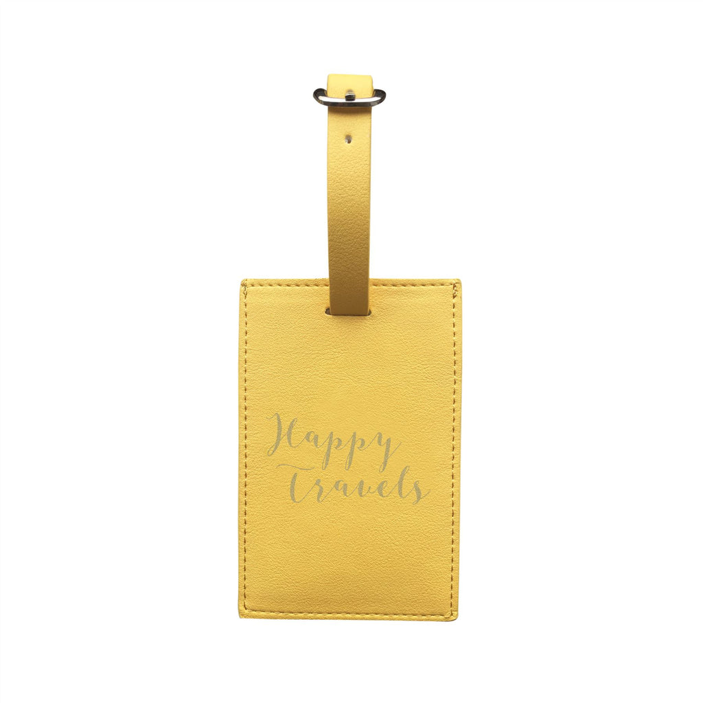 Bombay Duck - Happy Travels - Sunshine Yellow/Gold Luggage Tag - Printed Faux Leather