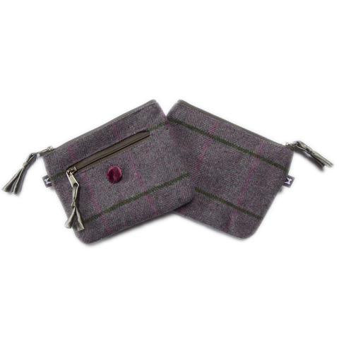 Amy Purse 11x10x3cms Earth Squared Navy Blue Tweed Wool