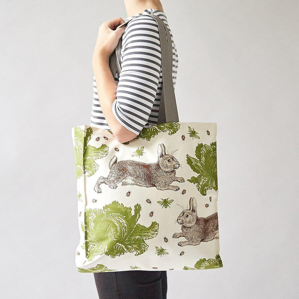 Thornback & Peel - 100% Cotton Tote Shopping Bag - 40x37x11cms - Rabbit & Cabbage