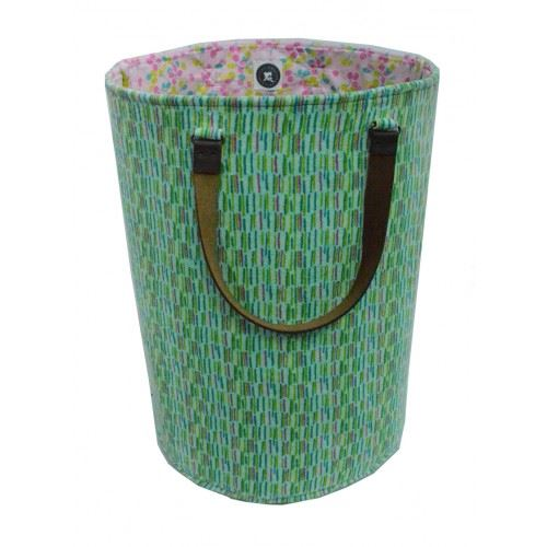 Fiona Walker Tall Storage Bag - Velour With Leather Handles - Blue/Green - 47 x 35cms