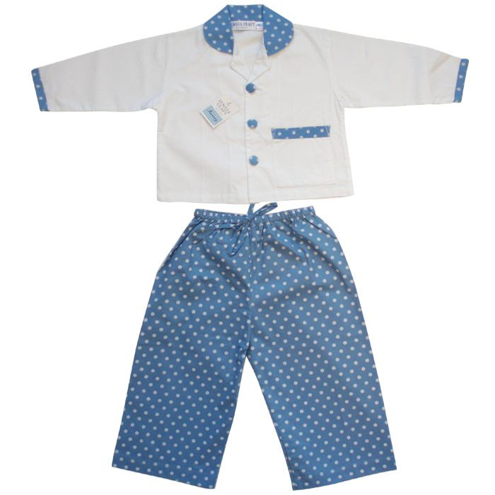 100% Cotton Pyjamas - William - Blue & White Polka Dots - Powell Craft - Ages 2-7